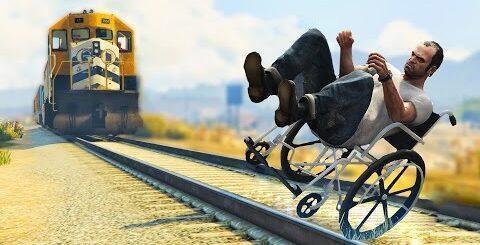 Приколы в играх WDF 5 | Тревор останавливает поезд | Смешные моменты из  GTA 5 и cs 1.6